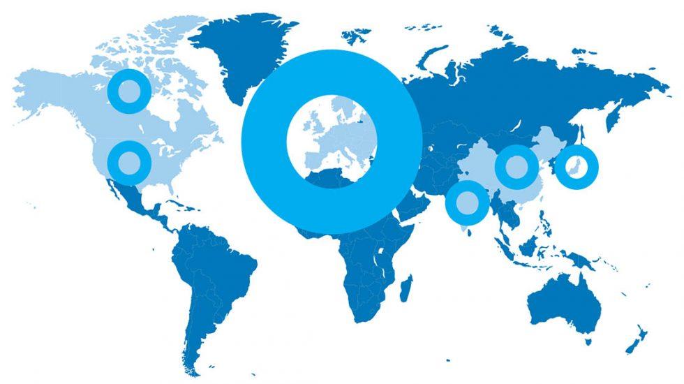 mapa del mundo señalando dónde está Ayming